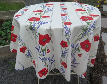 "Round Tablecloth. Water proof and stain resistant40"",50"" and 59"" diam Easy care. Summer and outdoor tablecloth.Lavender and poppies in white"