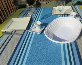 "New collection 2018.Rectangular oilcloth tablecloth. You choose the length! Maximum width is 61"".Fabric from France.Soft ble with stripes"