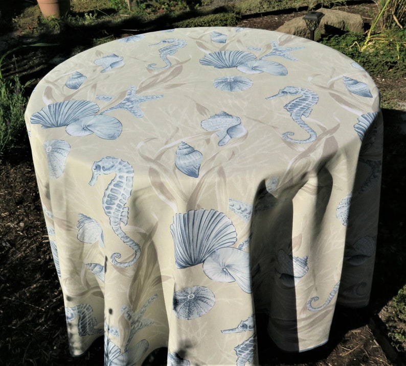 Extra Large Round Table Cloth.Round Cotton Table Cloth Extra Large Sea Shells Sea Horse Print French Fabric From Provence Teflon Ocean Theme Easy Care Blue Grey