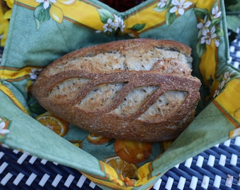 Oilcloth Provence fabric Serving basket for diner rolls, bread, croissants, biscuits. Unique French Holiday gift under 25. Bread lover gift