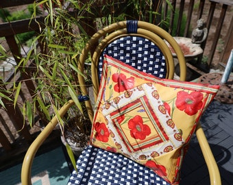 Cotton Pillow case Unique Handmade Birthday gift from Provence Stain Resistant Easy care fabric Decorative Red poppy Paisley print in yellow