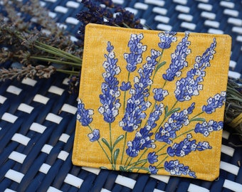 Table Protection Holiday Gift with  Purple Lavender Set of 4 cotton fabric coated coaters laminated waterproof Stain Resistant Yellow