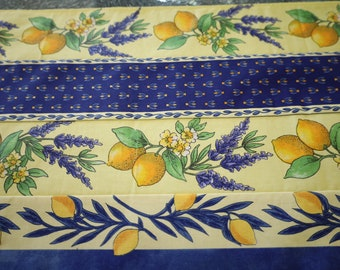 Unique quilted table runner Fabric from Provence Cotton coated Holiday gift Stain resistant waterproof Easy care Lavender lover lemon print