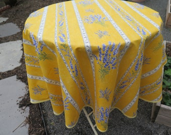 Round Tablecloth oilcloth fabric. Stain resistant. Easy care. Fabric from Provence, France. Lavender in yellow