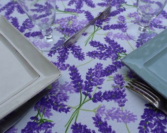 Lavender lover Print. Rectangular Extra long or small Bistro tablecloth. Summer outdoor gift Easy care linen. Wipe off stain. Cotton coated