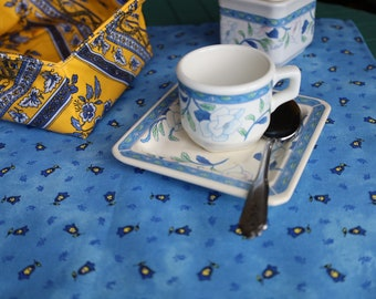 Cotton napkin Cloth napkins French unique gift for her under 25 Provence fabric Blue yellow. Bell print. elegant Table setting