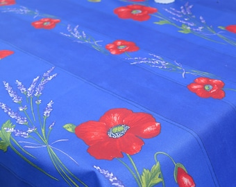 "Rectangular tablecloth. Stain resistant and water proof.Width is 57"" max. Fabric from Provence, France. Lavender and poppies in blue"