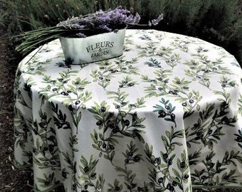 Eco friendly Round French oilcloth laminated Table cloth Cotton coated fabric. linen from Provence Black Olives print egg shell color
