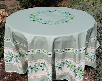NEW Laminated Cotton Stain and water proof Round table cloth Outdoor Indoor kitchen linen Table up to 6 people Olives print Sage green White