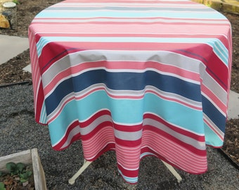 "Round tablecloth.Stain and water resistant. 40"",50""60"" diameter. Easy care"