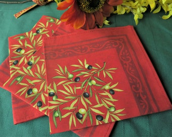 Cotton napkins Perfect match for round and rectangle tablecloth Red Olives print Thanksgiving Christmas table setting Eco friendly linen
