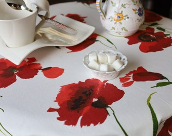 NEW Unique! Rectangular OR Round cotton Tablecloth. Red Poppies print in white Holiday gift for her Christmas Fabric from Provence