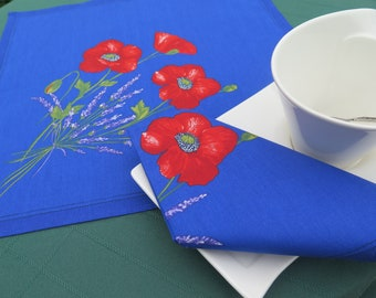 Cotton napkinCloth napkin Set of 1.2,4,6,8,10.12 Perfect match for runner,tablecloths. Poppies and lavender in blue