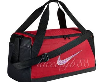 ba1b53dde0e2 Bling Swarovski Nike Duffel Bag-Red