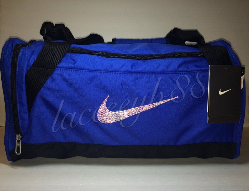 XS-Bling Swarovski Nike Duffel Bag-Blue Nike Bag Bling Nike  7193d7d89a038