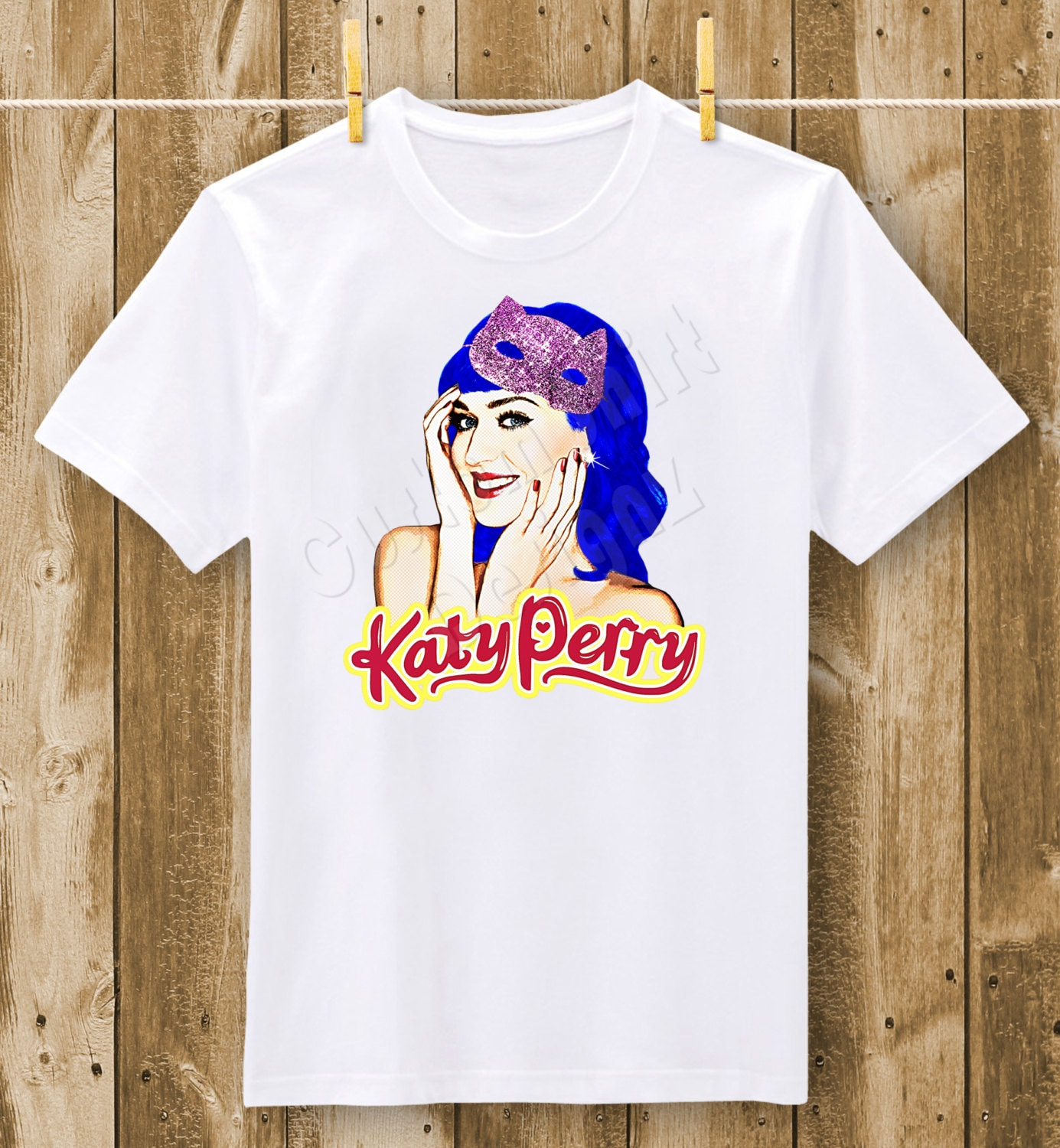 Katy Perry Pop Art Blue Hair T-Shirt or Bodysuit