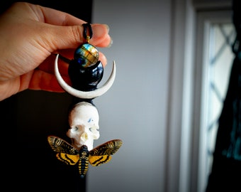 Death's head hawk Moth, Oddities, Witch Jewellery, Moth totem, Moth spirit animal ,labradorite  Crystal necklace, Black Obsidian , Skull