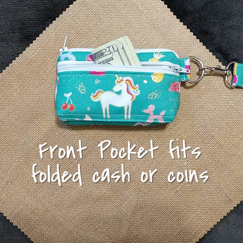 Unicorn Wallet Keychain Wristlet  Fabric with Zipper