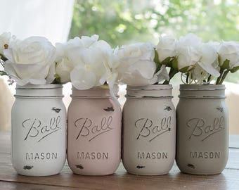 Painted Mason Jars in Blush Pink, Tan, Taupe and White - Wedding, Showers, Vases