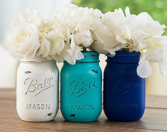 Blue, Turquoise, White Painted Distressed Mason Jars