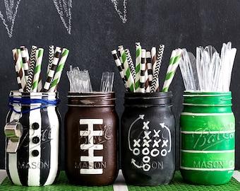 Football Mason Jars - Football Party Mason Jar Set - Painted & Distressed Mason Jars - Football Party
