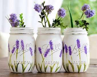 Lavender Flower Painted Mason Jars - Painted Mason Jars - Lavender Mason Jars - Flower Mason Jars