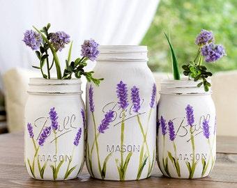 Lavender Flower Mason Jar Vases - Painted and Distressed Mason Jars - Lavender Mason Jars - Wedding Centerpiece