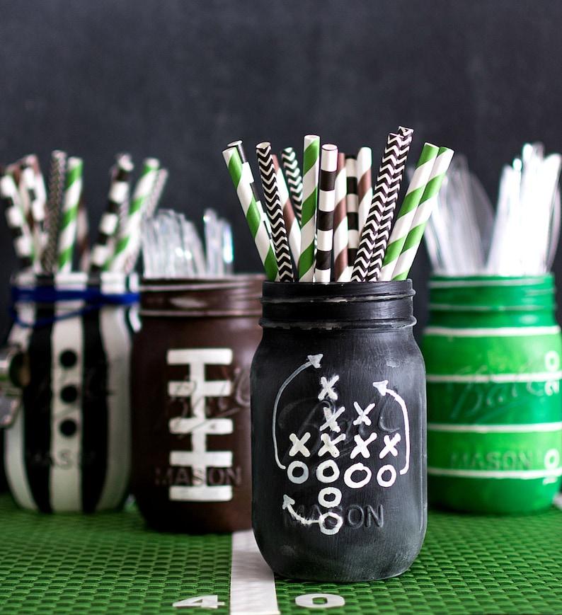 Football Game Chalkboard Plays Mason Jar  Football Party image 0