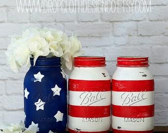 American Flag Mason Jars - Quart Sized