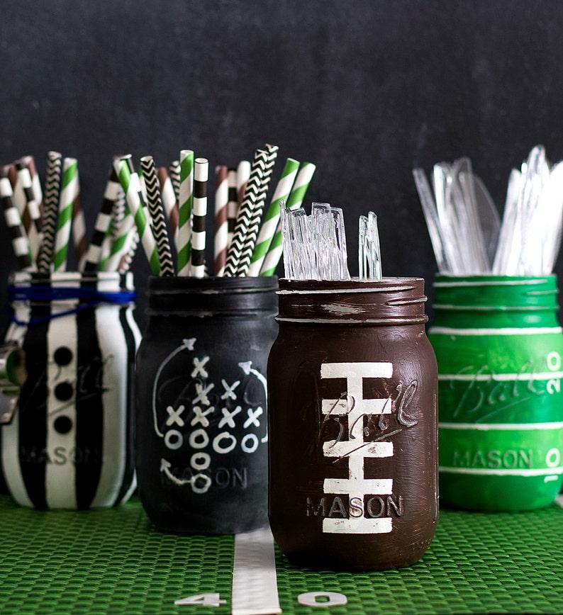 Football Mason Jar  Painted & Distressed Football Mason Jar  image 0