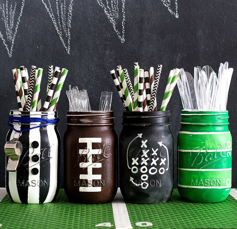Football Mason Jars  Football Party Mason Jar Set  Painted & image 0