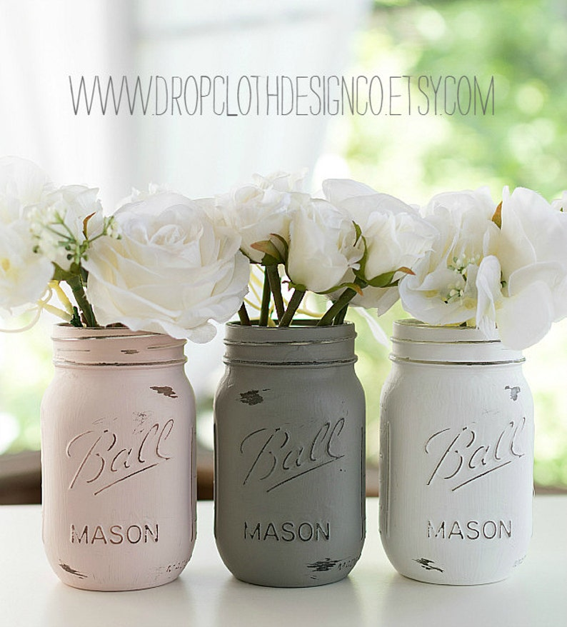 Pink Greige White Mason Jars  Painted and Distressed  image 0