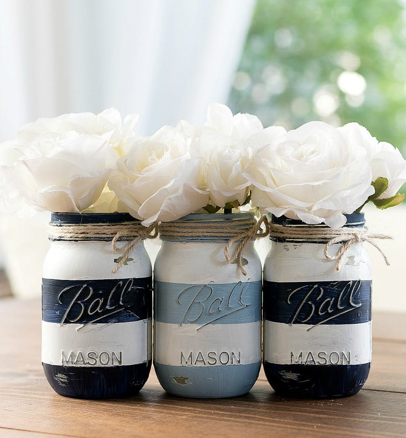 Striped Mason Jars  Painted Striped Mason Jars  Nautical image 0