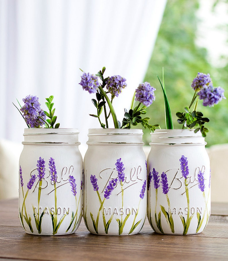 Lavender Flower Painted Mason Jars  Painted Mason Jars  image 0