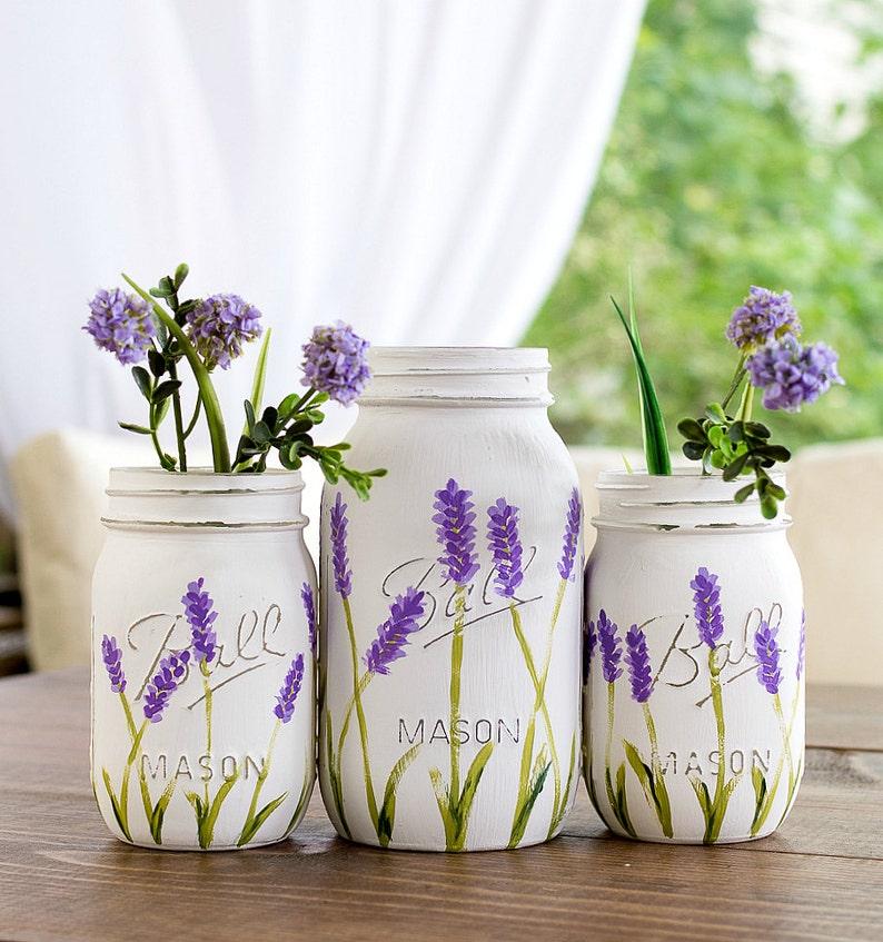 Lavender Flower Mason Jar Vases  Painted and Distressed Mason image 0