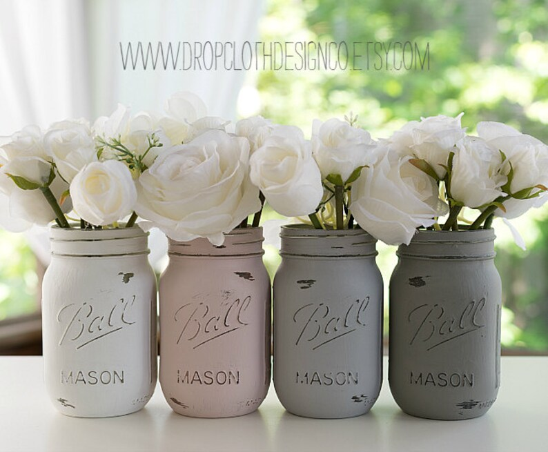 Painted Distressed Mason Jars  Pink Blush Grey Greige image 0