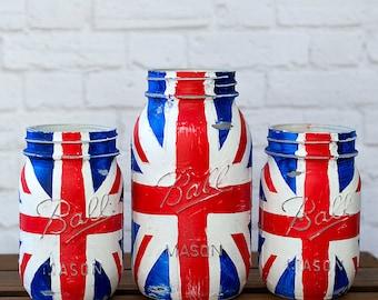 Union Jack Flag Mason Jar - Red, White, Blue Mason Jars