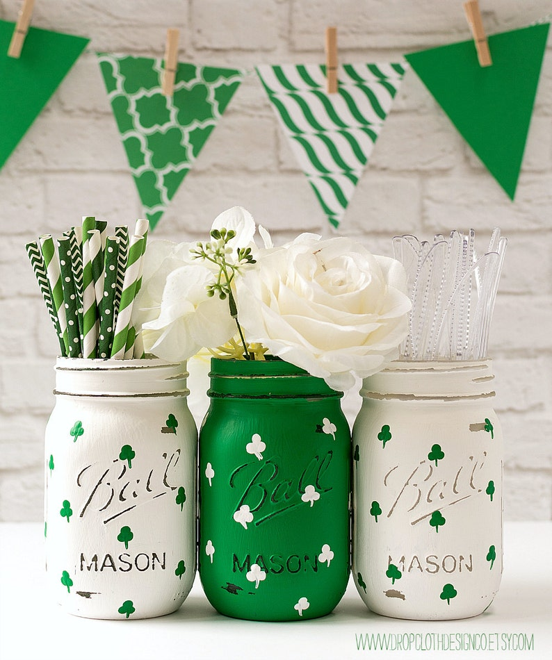 St Patrick's Day Themed Mason Jars