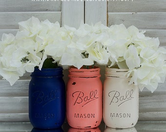 Coral, Navy, Cream Painted & Distressed Mason Jars - Home Decor, Wedding Centerpiece, Gift Idea