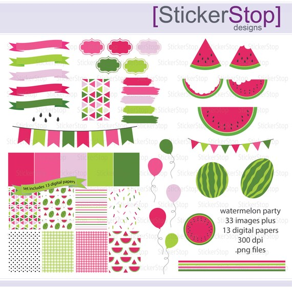 Watermelon Party Paper Pack and Digital Clipart - Instant download