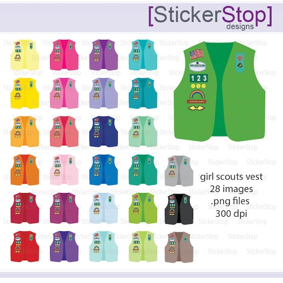 Colorful Girl Scout Vest Icon Digital Clipart in Rainbow Colors