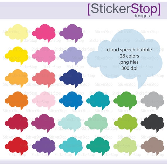 Cloud Speech Bubble Clipart, PNG Digital Clipart - Instant