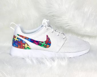 c7a0f941a13f85 Autism awareness shoes - autism speaks nike shoes - bling nike shoes -  puzzle piece nike shoes - fabric nike roshe - custom nike roshe run -