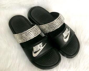 85c23480bf0f5 Bling nike benassi duo slides- crystal nikes flip flops- sparkly sandals- bling  flip flips- crystal beach shoes- black duo flip flops-
