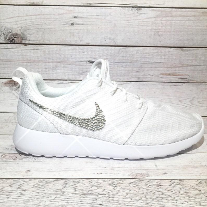 ac6abbbb3fe21 bling nikes- crystal nikes- white bling nikes- sparkly sneakers- crystal  nike roshe one- custom nikes- rhinestone nikes- bling nike roshes