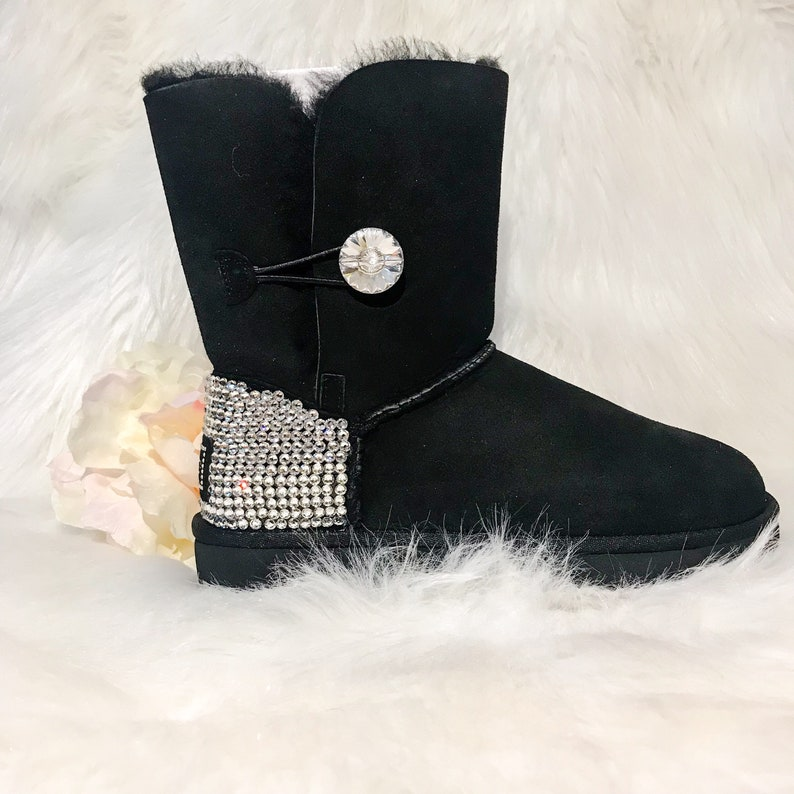 d0a3635ce38 Bling black ugg boots- FREE SHIPPING crystal UGG boots - custom bailey  bling uggs - womans bailey button ugg boots - custom bedazzled uggs
