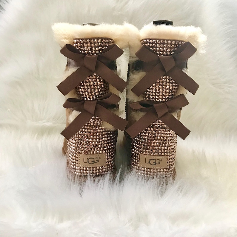 bling UGG boots - crystal UGGs- FREE SHIPPING- bling snow boots- womans ugg  boots- custom ugg boots with bows- bling chestnut ugg boots bf37dac02