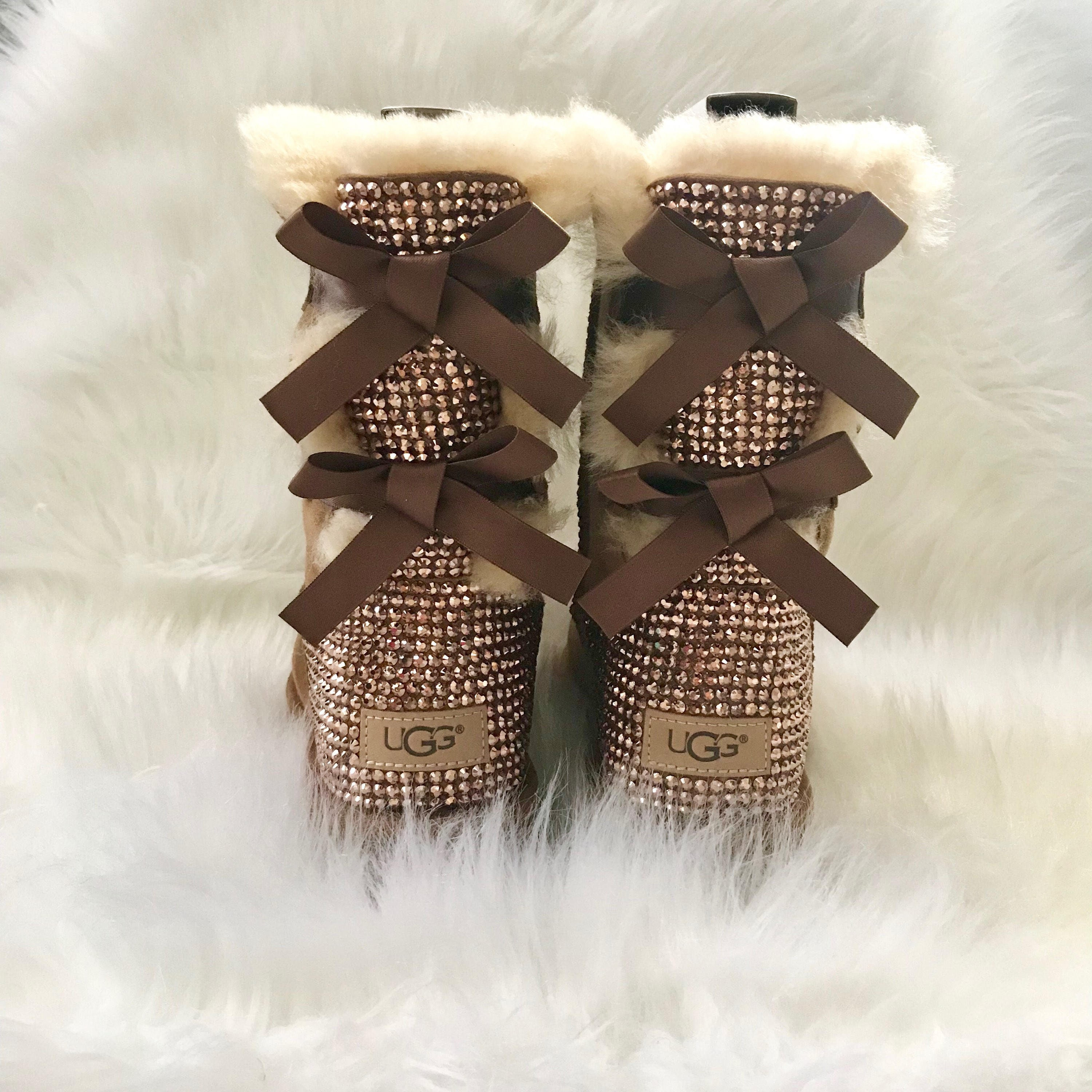 6a1f9207f46 bling UGG boots - crystal UGGs- FREE SHIPPING- bling snow boots- womans ugg  boots- custom ugg boots with bows- bling chestnut ugg boots