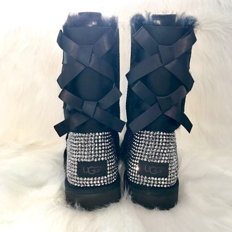 Bling black baily bow uggs- FREE SHIPPING- bling uggs with bows - custom  women s ugg boots- sparkly bedazzled ugg boots -bling uggs - 8f87466ba