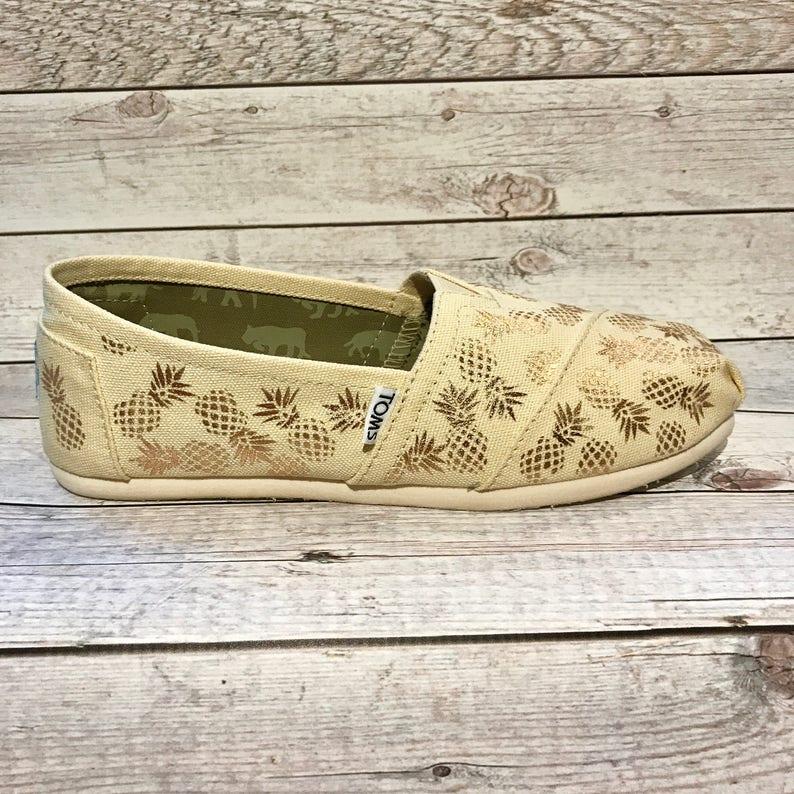 De Été Toile Mesure Sur Cadeaux Ananas Plage Chaussures Custom Toms Amoureux IymYf7g6bv